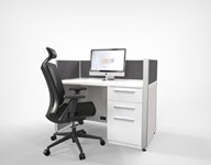 White & Grey Open Concept Workstation