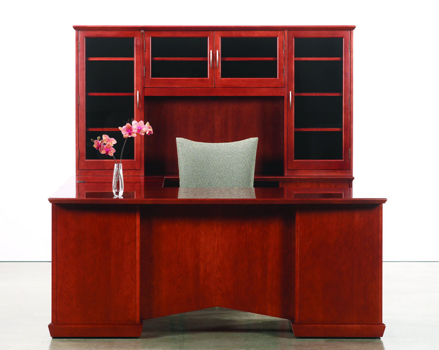 Sit stand executive desk and matching storage credenza in cherry