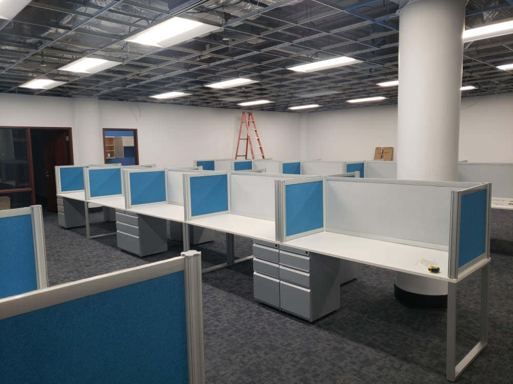 Modular workstations in an open office