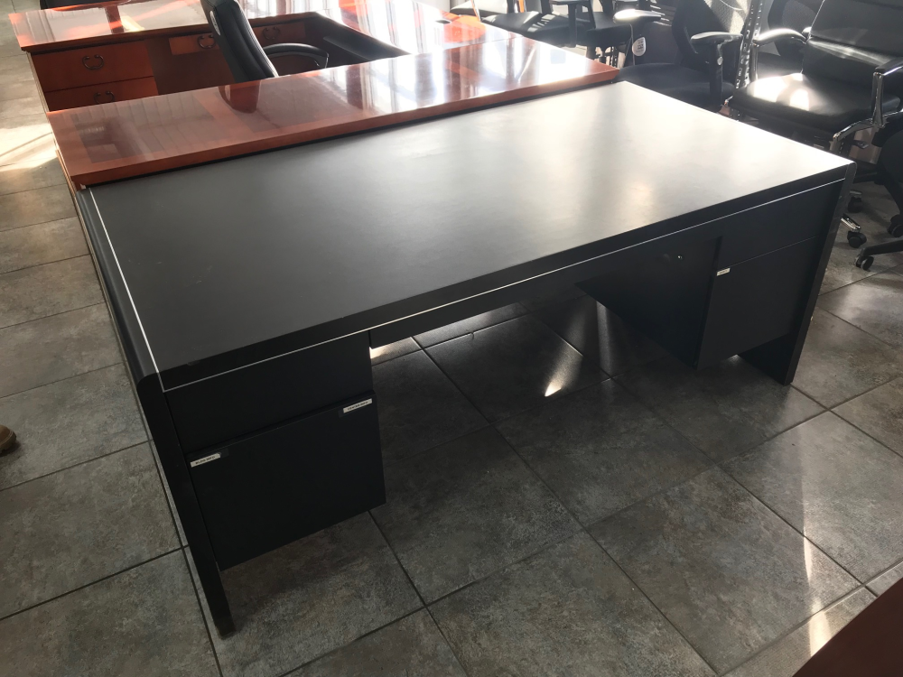 Black straight front office desk with drawers