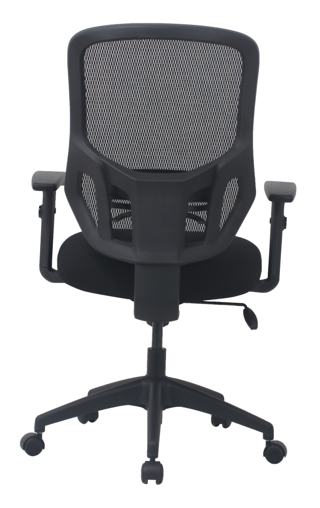 Low priced black office chair with mesh back and wheels