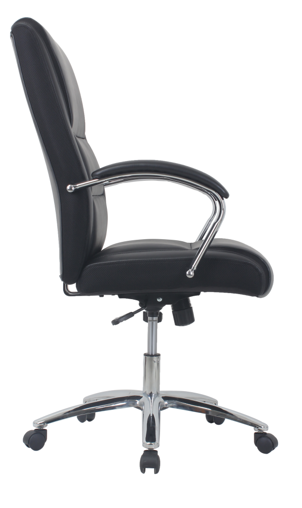black leather office chair with wheels and arms