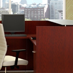 "72""w Frosted Glass Top on Luna Cherry office Desk"