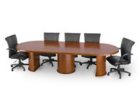 wood veneer conference table with drum base