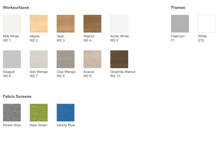 Laminate and fabric finish color options for sit stand workstations