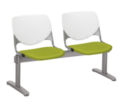 Kool by KFI 2-seat beam seating in bright green with upholstered seats