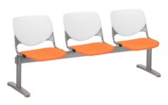 Kool by KFI 3-seat beam seating with orange upholstered seat