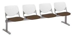 Kool by KFI 4-seat beam seating with brown upholstered seats
