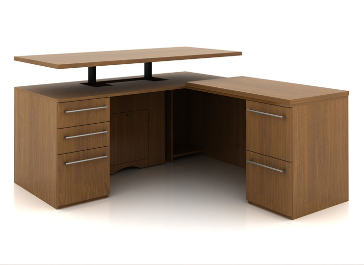 L-shaped height adjustable wood office desk