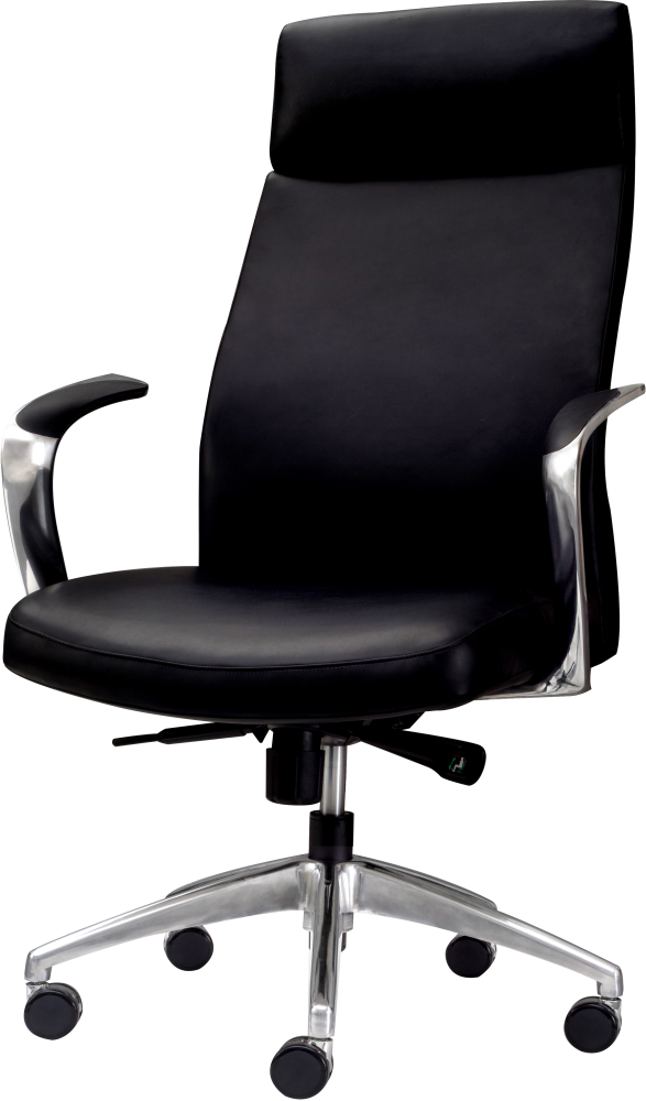 high back adjustable management chair for executive office in black leather