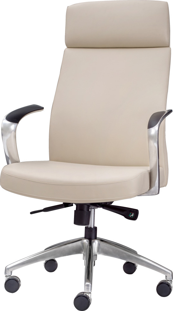 High back ergonomic executive chair with wheels in cream leather