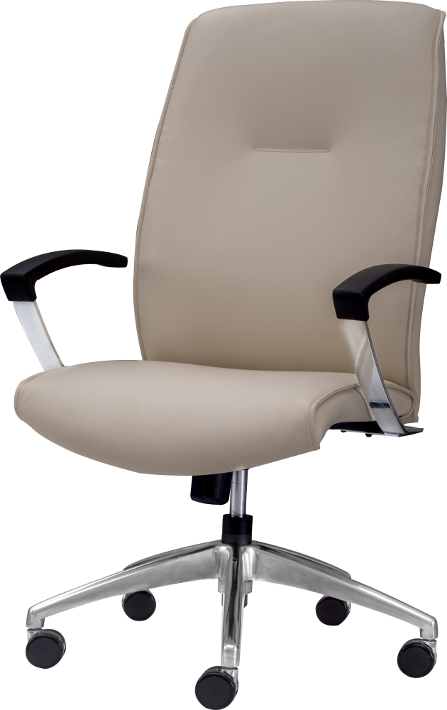 Knee tilt office chair with high back and arm rests in cream leather