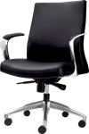 mid back black leather executive chair with curved brushed aluminum arm rests and 5-caster wheeled b