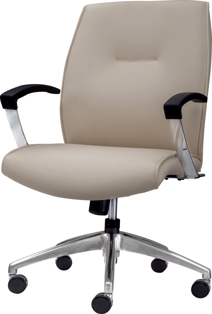 Knee tilt mid back cream leather office chair with armrests and wheels