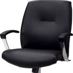 Knee tilt mid back black leather office chair with armrests and wheels