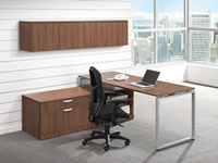 overhead office cabinets in woodgrain laminate mounted on wall