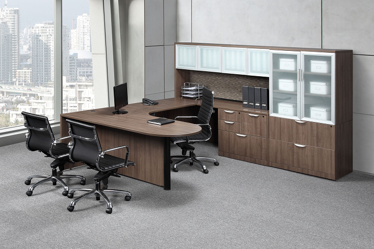 Laminate lateral filing cabinets as part of a laminate office furniture set