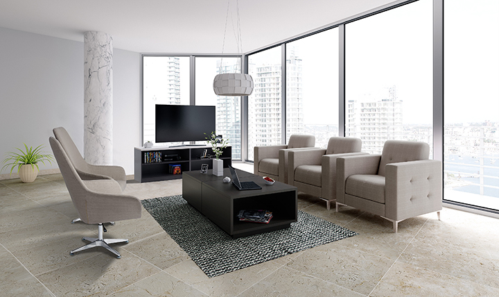 3 taupe lounge chairs and 2 taupe dining chairs in a modern living room