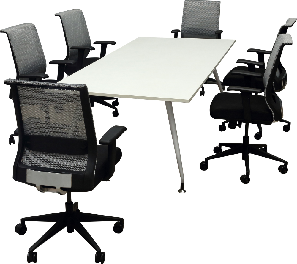 8 foot white conference table with ergonomic chairs for sale Chicago
