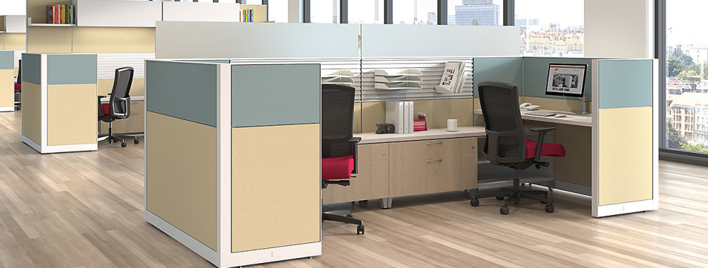 Modular office partition panels installed in Waukesha business