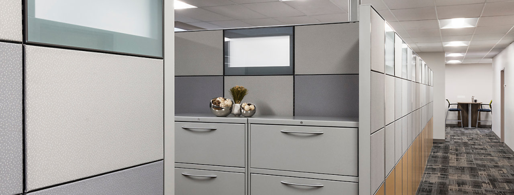 free standing office panels with storage installed in Madison office building