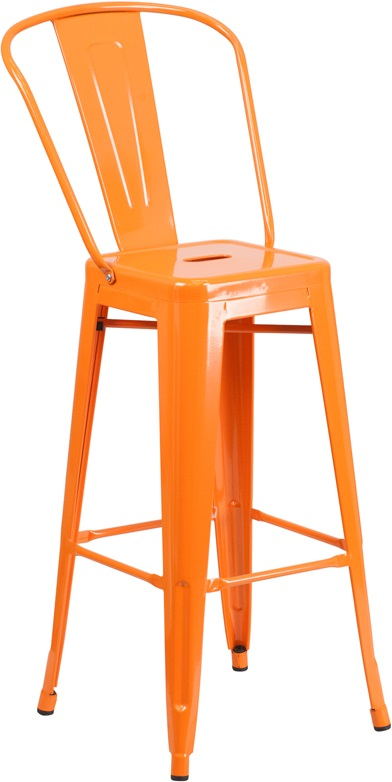 orange metal barstool with back for sale