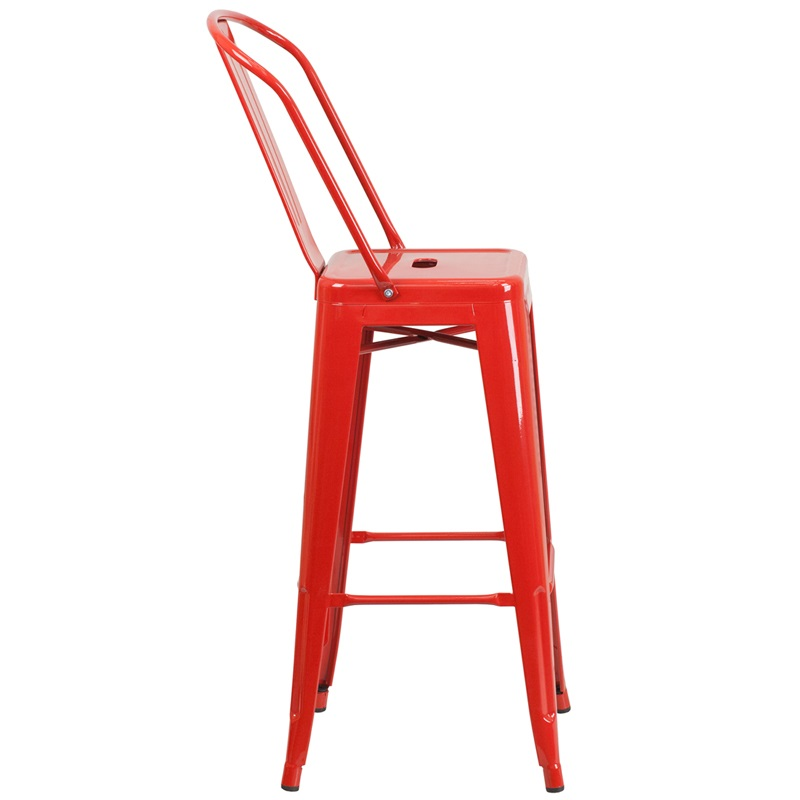 red metal barstool with back for sale