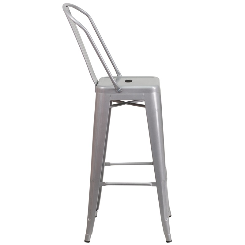 silver metal barstool with back for sale