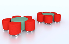 Modular lounge seating including low tables and ottomans on casters