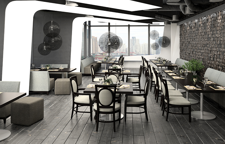 Restaurant lounge furniture including modern chairs and tables