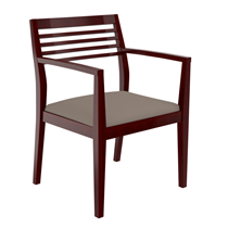 Wood reception chair with cushioned seat for sale