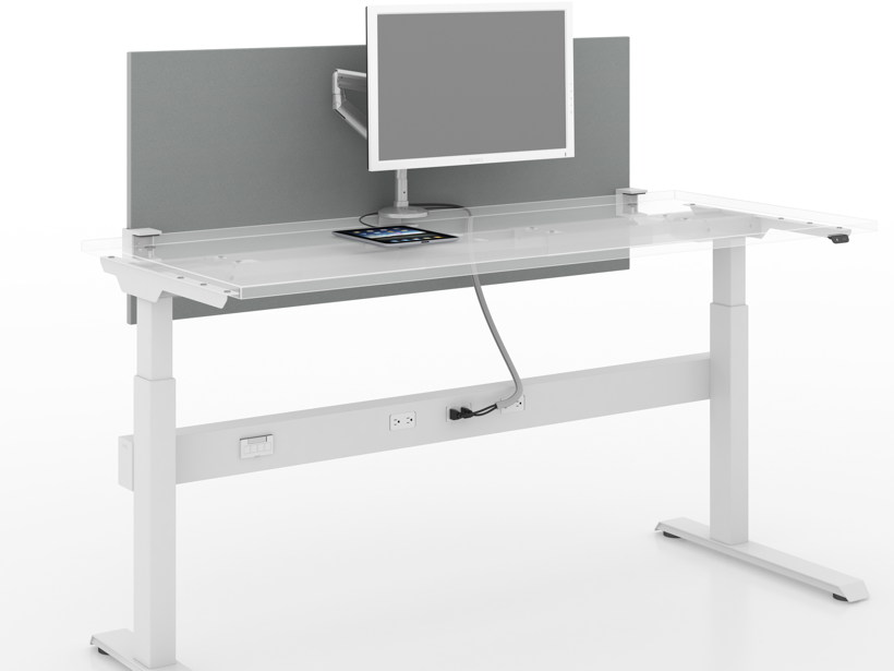 Adjustable height table as part of workstation with cable management, privacy panel and glass top