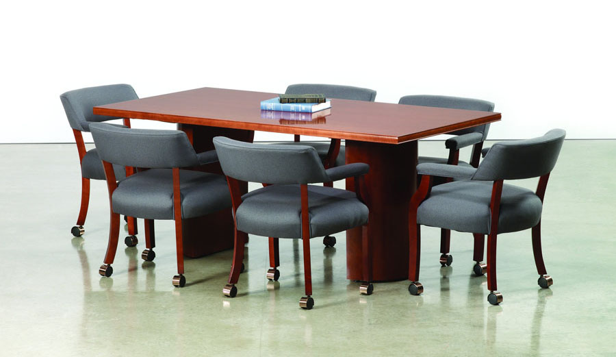 Custom cherry veneer 8 foot conference table with half cylinder base