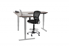 Adjustable height 3 leg table with electric rise and drafting stool