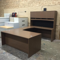 Straight Front Desk U-Shape & Hutch - Walnut Finish