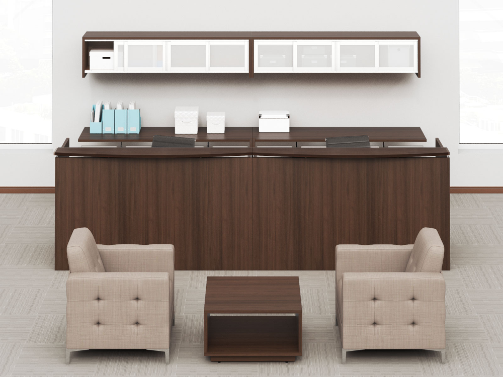 Office reception area with 2 person reception desk, matching side table and two fabric covered loung