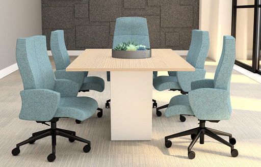 Stylish fabric office chairs in a modern conference room