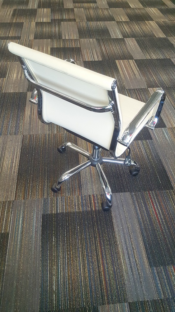 Used white leather conference chair with adjustable height - side view