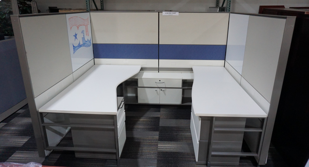 8 foot by 8 foot discount Herman Miller workstations with desk, credenza and pedestal storage includ