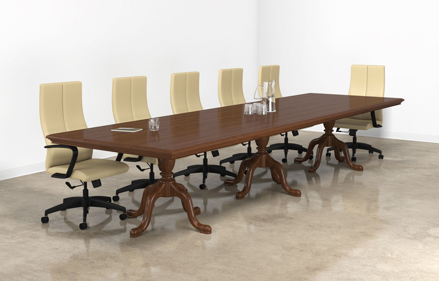 Custom wood meeting room table with Queen Ann base