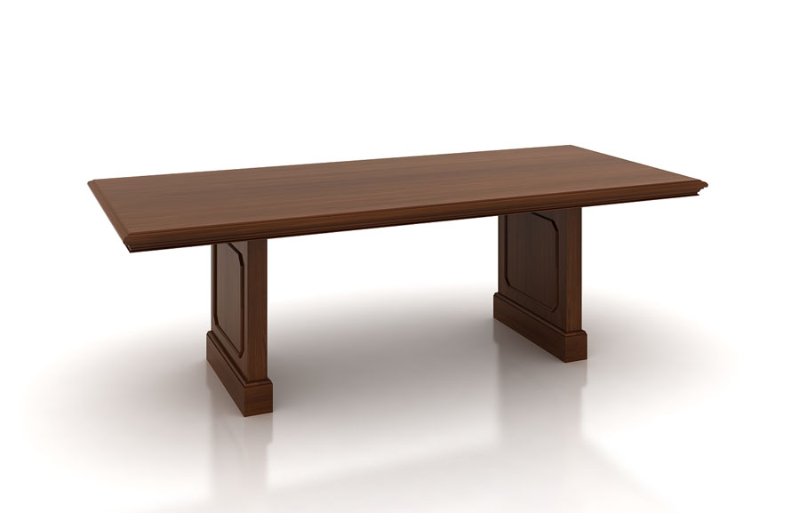 Traditional rectangular mahogany conference table with panel base