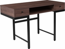 Rectangular wooden desk with open storage space and two box drawers