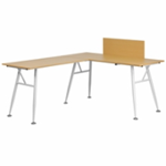 L-shaped beech laminate desk with white frame
