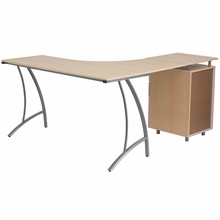 L shaped wooden desk with silver frame and bar pulls with 3 drawer storage pedestal