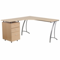 L shaped wooden desk with three drawer file pedestal and silver frame