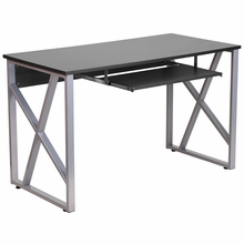 computer desk with black top and keyboard tray and gray legs