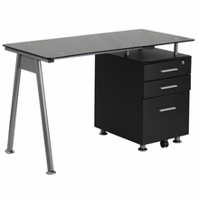 Modern computer desk with black glass tempered top
