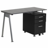 Rectangular black glass desk with file pedestal and silver bar pulls