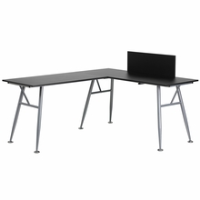 L-shaped black laminate computer desk with silver frame