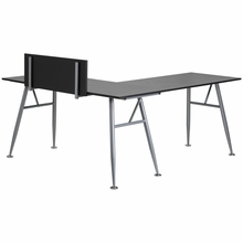 L-shaped black laminate desk with privacy panel